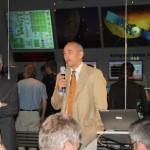 Manfred Warhault erläutert die Aufgaben des ESOC zur Unterstützung der NASA.