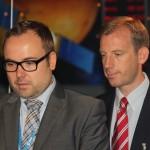 Sie koordinieren das Presseevent. Andreas Schepers und Bernhard von Weyhe.