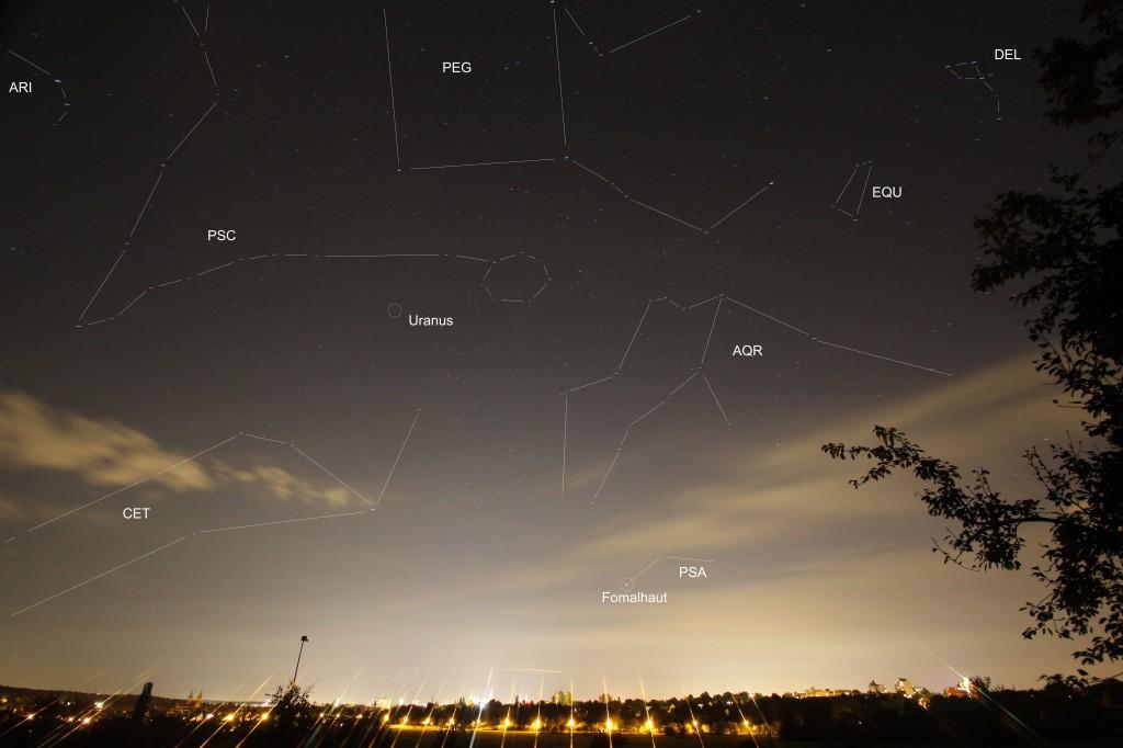 Herbststernhimmel Blick zum südlichen Horizont.