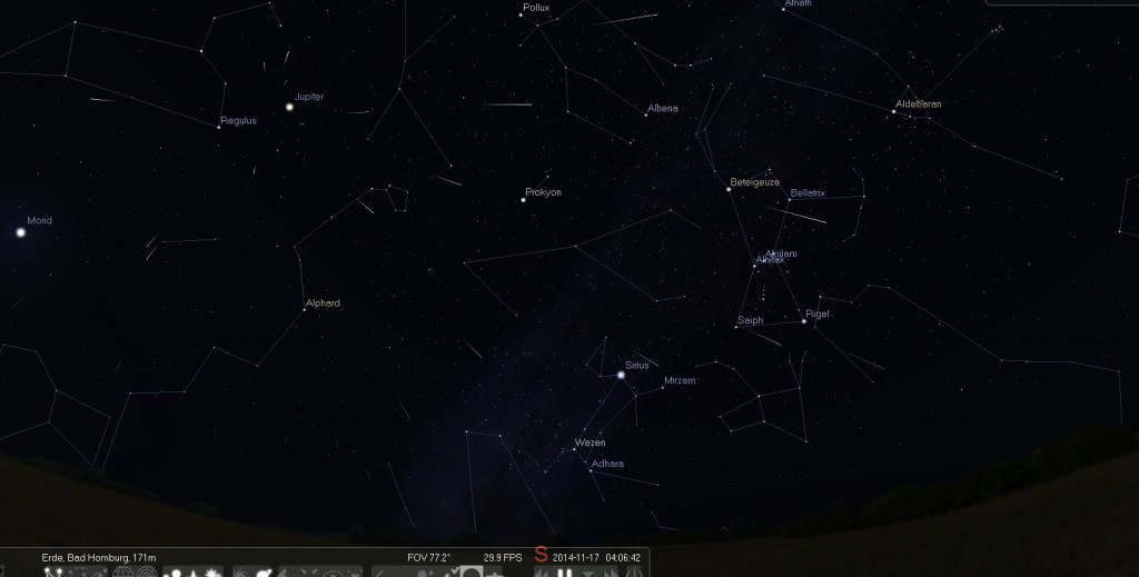 Der Sternschnuppenstrom der Leoniden ist besonders gut in den Morgenstunden Mitte November zu beobachten.