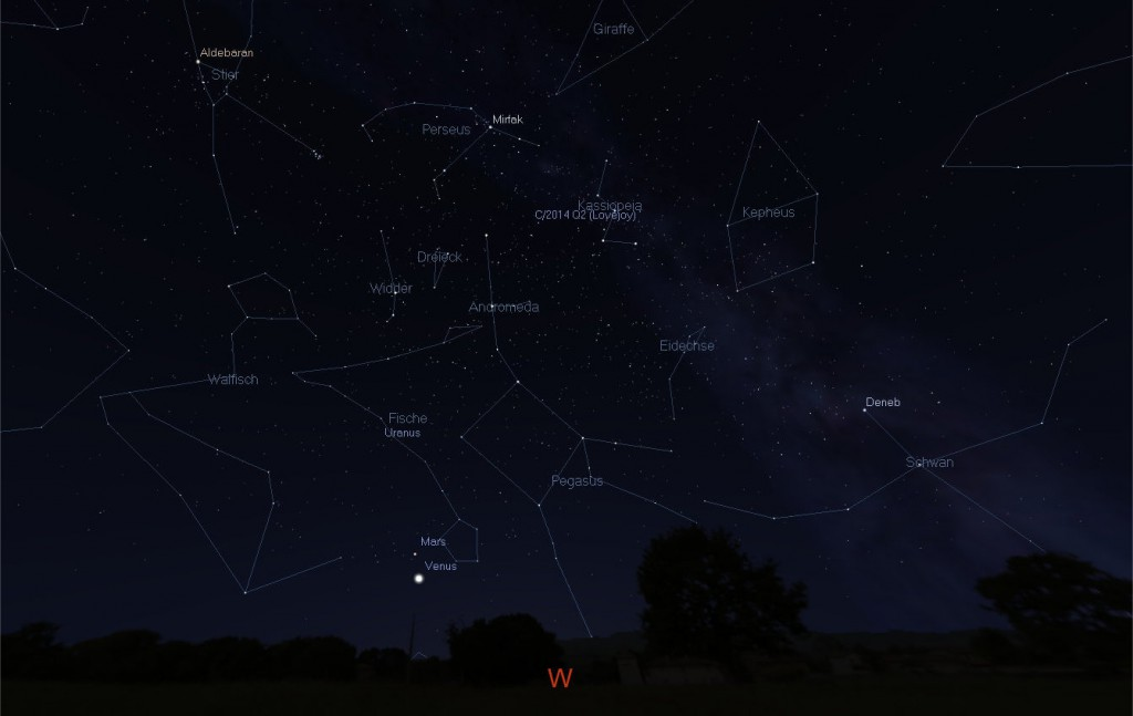 Anblick des Abendhimmels Richtung Westen, am 15. Februar 2015 gegen 19 Uhr.