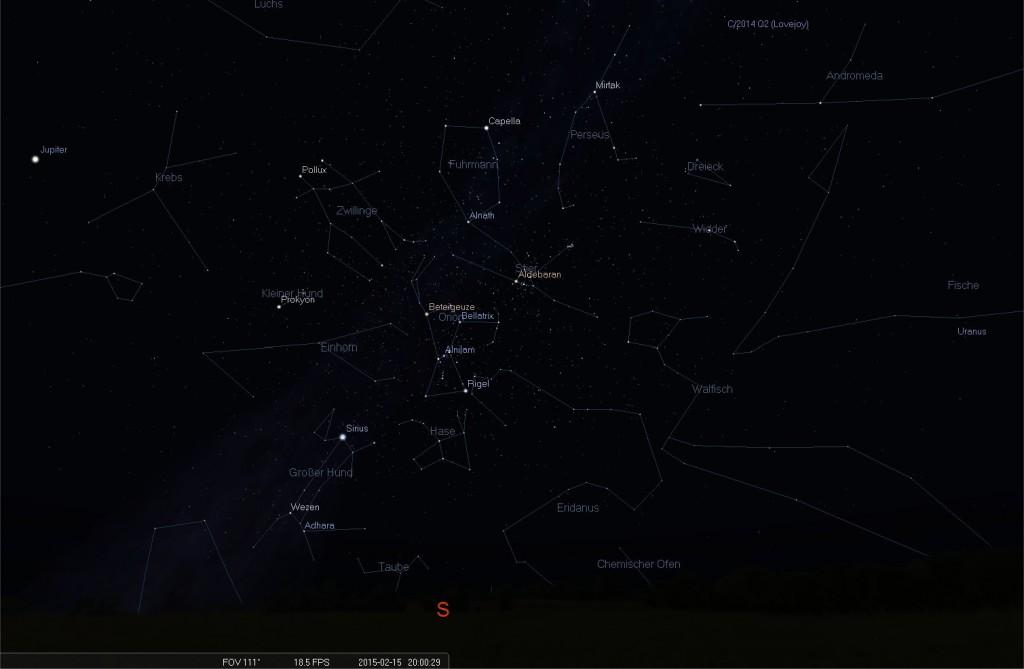 Ansicht des Abendhimmels am 15. Februar 2015 um 20 Uhr Richtung Süden.