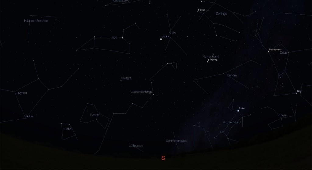 Anblick des Sternenhimmels Mitte März, Richtung Süden.