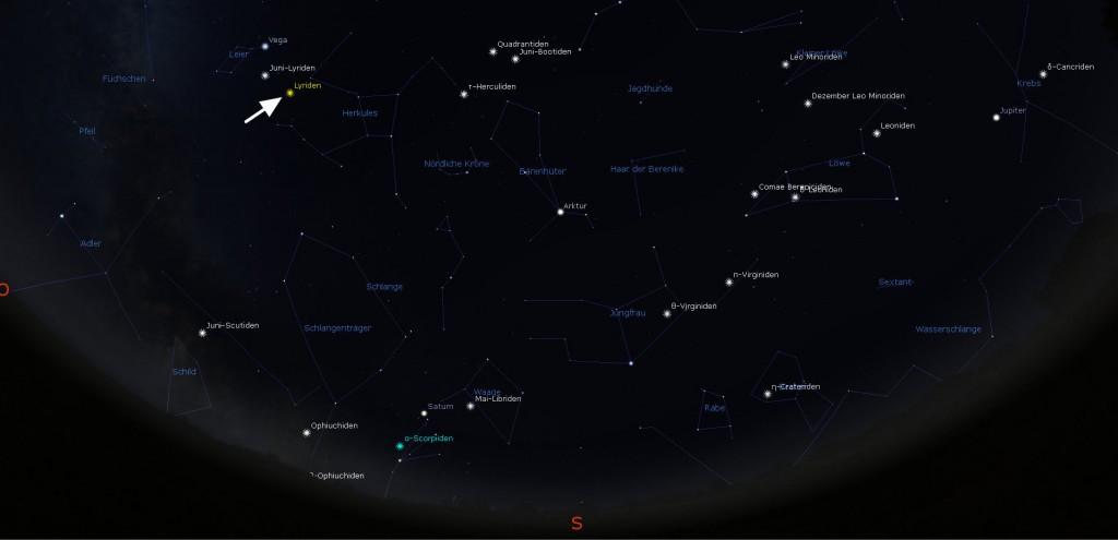Ansicht des Sternhimmels mit den Lyriden.
