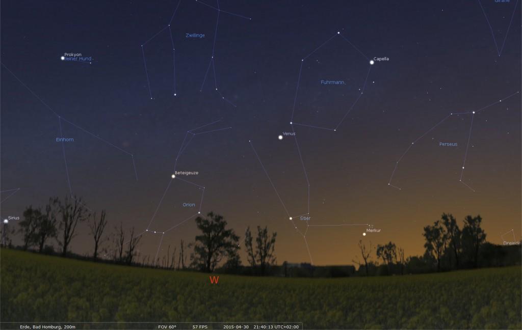 """Am 30 April 2015 steht der Merkur dicht an dem Sternhaufen der Pleyaden und durchwandert das """"Goldene Tor der Ekliptik"""". Bild erstellt mit Stellarium."""