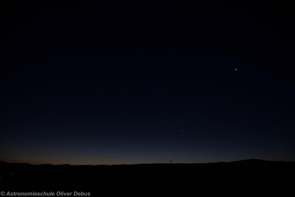 Venus, Mars und Jupiter über dem Winterstein.