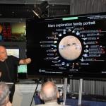 Prof. Mark McCaughrean zeigt die bisherigen Marsmissionen.
